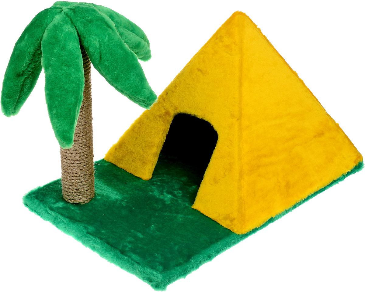 Домик для животных ЗооМарк Пирамидка, с когтеточкой, 63 х 40 х 44 см116Домик ЗооМарк Пирамидка непременно станет любимым местом отдыха вашего домашнего животного. Он изготовлен из ДСП и обтянут искусственным мехом. Домик выполнен в виде пирамиды, стоящей на траве. Рядом расположена когтеточка в виде высокой пальмы. Оригинальный домик - отличное место, чтобы спрятаться. Также там можно хранить свои охотничьи трофеи. Размер домика (без учета основания): 40 х 40 х 36 см. Высота пальмы (без учета основания): 41 см.