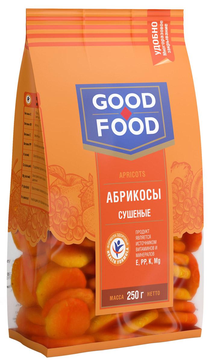 Good Food абрикосы сушеные, 250 г4620000675754Сушеные абрикосы обладают высокими вкусовыми качествами, быстро утоляют чувство голода, обогащают организм витаминами и микроэлементами, оказывают лечебный эффект при целом ряде болезней, делают человека бодрым, сильным и работоспособным.