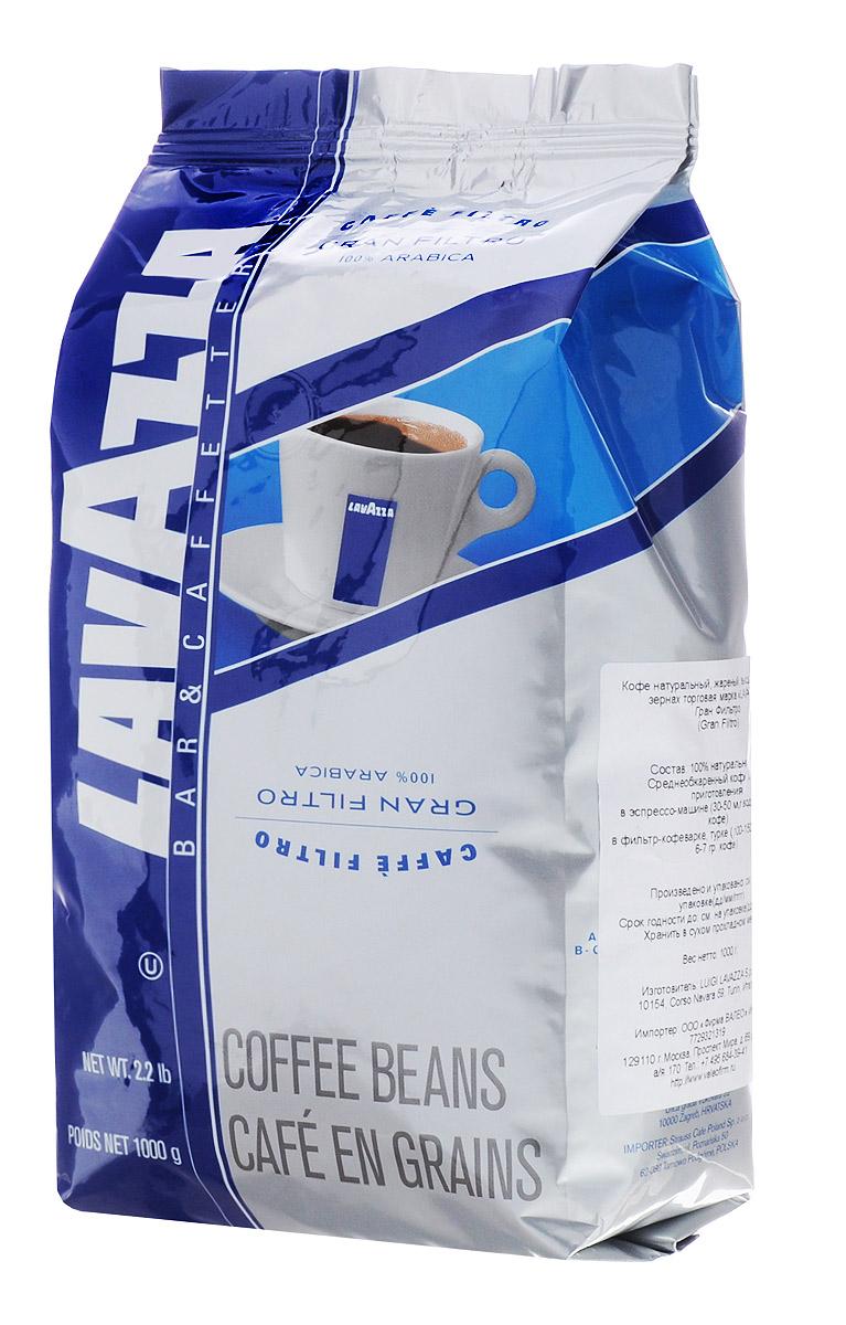 Lavazza Gran Filtro кофе в зернах, 1 кг0120710Кофе Lavazza Gran Filtro - смесь высококачественных арабик с лучших плантаций, отмеченных ассоциацией Rainforest Alliance Certified. Смесь произведена из 100% мытой бразильской арабики, выращенной в регионе Моджиана и на юге штата Минаш. Кофе хорошо подходит для использования в фильтр-кофеварках, турках и эспрессо-машинах. Во вкусе можно различить инжир и цветки жасмина.