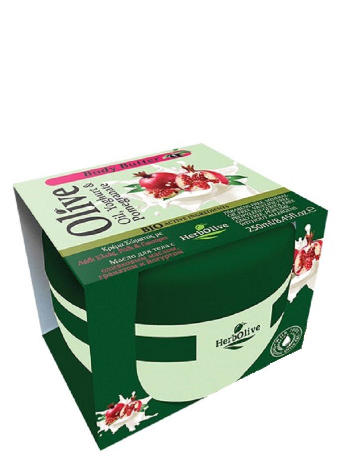 HerbOlive Масло для тела с йогуртом и экстрактом граната 250 мл5200310404122Твердое масло для тела с йогуртом и экстрактом граната при соприкосновении с кожей нежно тает, питая, увлажняя и одаривая тело ароматом греческих масел и экстрактов. В составе: органический экстракт граната, молочный протеин, а также, ценные масла карите, оливы, миндаля, пантенол. Средство омолаживает кожу, устраняет стянутость, шелушение, тонизирует кожу, хорошо впитывается, не оставляет ощущение жирности. Косметика произведена в Греции на основе органического сырья, НЕ СОДЕРЖИТ минеральные масла, вазелин, пропиленгликоль, парабены, генетически модифицированные продукты (ГМО)