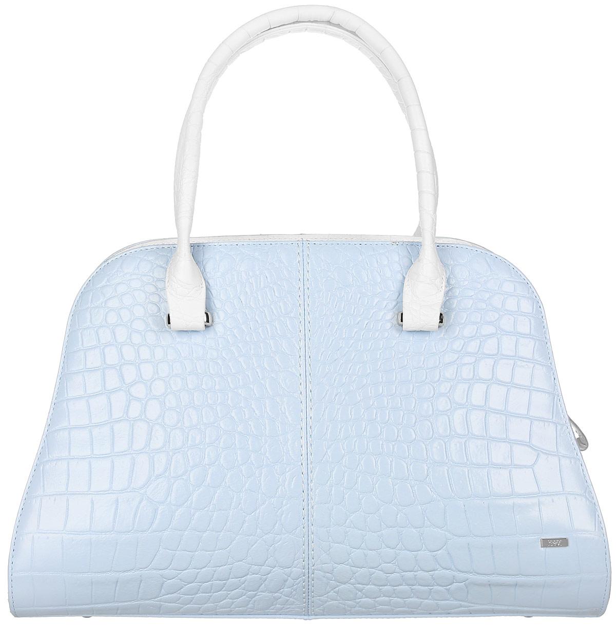 Сумка женская Esse Розали, цвет: голубой, белый. GRSL5U-00ML09-FF809O-K100GRSL5U-00ML09-FF809O-K100Модная женская сумка Esse Розали имеет жесткую конструкцию, изготовлена из натуральной кожи, оформлена тиснением под кожу крокодила и металлическим значком логотипа бренда. Модель создана для женщин, ценящих оригинальный дизайн в сочетании с функциональностью и комфортом. Сумка состоит из одного отделения и закрывается на застежку-молнию. Отделение содержит нашивной карман для телефона и мелочей, а также врезной карман на молнии. На задней стенке врезной карман на молнии. Сумка оснащена двумя удобными ручками для переноски в руке или на запястье, а также съемным плечевым ремнем, регулируемой длины. Дно сумки дополнено металлическими ножками, которые защищают изделие от повреждений. Прилагается текстильный фирменный чехол для хранения. Оригинальный аксессуар позволит вам завершить образ и быть неотразимой.
