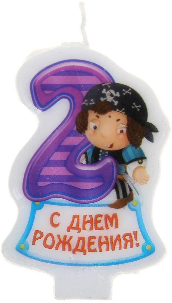 Sima-land Свеча в торт серия Пираты цифра 2, 4,8 х 7,3 см 1056445