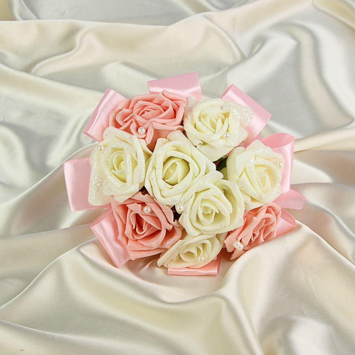 Букет-дублер Sima-land, цвет: белый, розовый. 12628211262821Добавьте в интерьер частичку весны! Дублер букета невесты с розами премиум бело-розовый 9 шт будет радовать неувядающей красотой не один год. Просто поставьте его в вазу или создайте пышную композицию. Искусственные растения не требуют поливки, особого освещения и другого специального ухода. Они украсят любое помещение (например, ванную с повышенной влажностью или затемнённый коридор). Дом становится уютным благодаря мелочам. Преобразите интерьер, а вместе с ним улучшится и настроение!