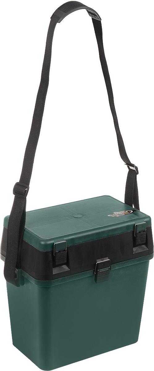 Ящик для рыболовных принадлежностей Onlitop, цвет: зеленый, черный, 38 х 24 х 37 смH009Ящик для рыболовных принадлежностей Onlitop выполнен из прочного пластика. В нем удобно перевозить рыболовное снаряжение, а в конце рыбалки - сложить в него пойманный улов. Ящик оснащен 1 вместительным отделением для улова. В верхней части крышки также имеется отделение, разделенное на 11 различных секций, в которых можно хранить снасти, наживку и прочие мелочи. Для удобной переноски предусмотрен наплечный ремень.