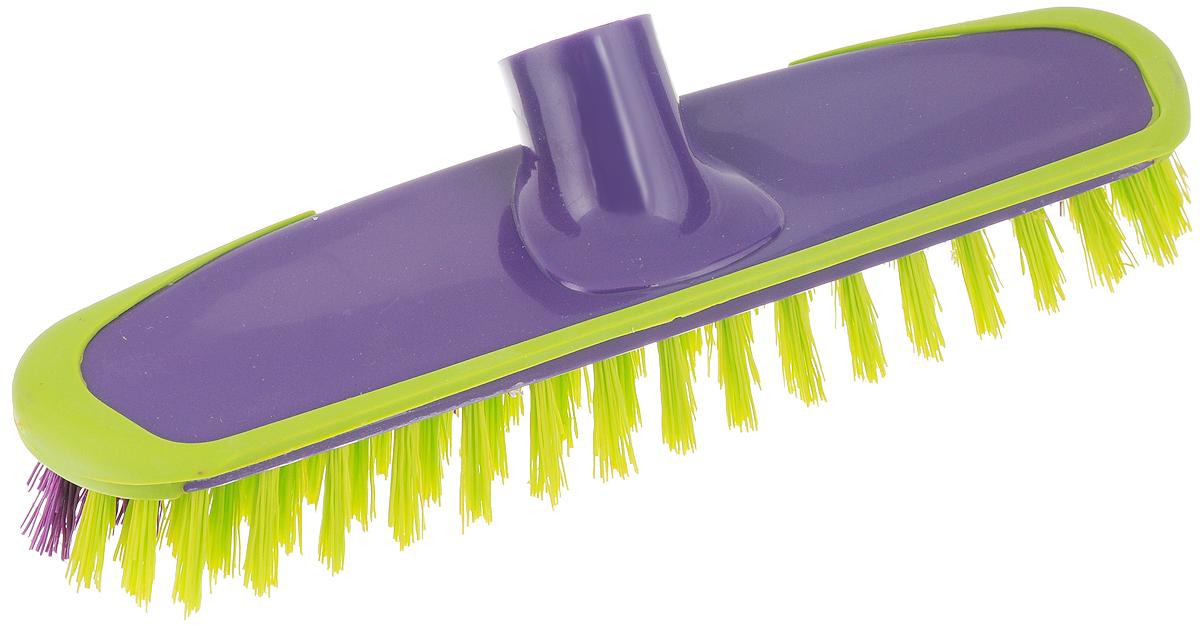 Щетка-скраббер York Prestige, без ручки, цвет: фиолетовый, салатовый, 25 х 6,5 х 7,2 смU110DFЩетка-скраббер York Prestige, изготовленная из полипропилена и ПЭТ (полиэтилентерефталат),предназначена для уборки в доме и на улице. Изделие оснащено специальной резиновой накладкой, которая защищает от механических повреждений стены и лестницы во время уборки. Она имеет два типа щетинок, которые удаляют как легкие загрязнения, так и твердую грязь.Щетка-скраббер York Prestige сделает уборку эффективнее и приятнее, не вызывая усталости.Длина ворса: 2,5 см.