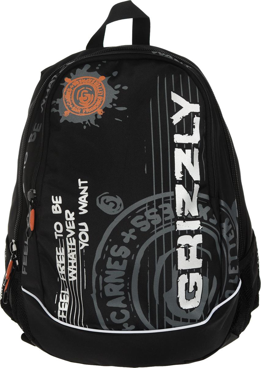 Рюкзак городской Grizzly, цвет: черный, 18 л. RU-601-3/1ЛЦ0009Стильный рюкзак Grizzly выполнен из полиэстера, оформлен оригинальным принтом и символикой бренда.Рюкзак содержит два вместительных отделения, каждое из которых закрывается на молнию. Внутри рюкзака расположены: карман на застежке-молнии и встроенный органайзер, который включает в себя три фиксатора для ручки и два открытых накладных кармашка для мелочей. Снаружи, по бокам изделия, расположены два сетчатых кармана. Рюкзак оснащен ортопедический спинкой, петлей для подвешивания, двумя практичными лямками регулируемой длины.Практичный рюкзак станет незаменимым аксессуаром и вместит в себя все необходимое.
