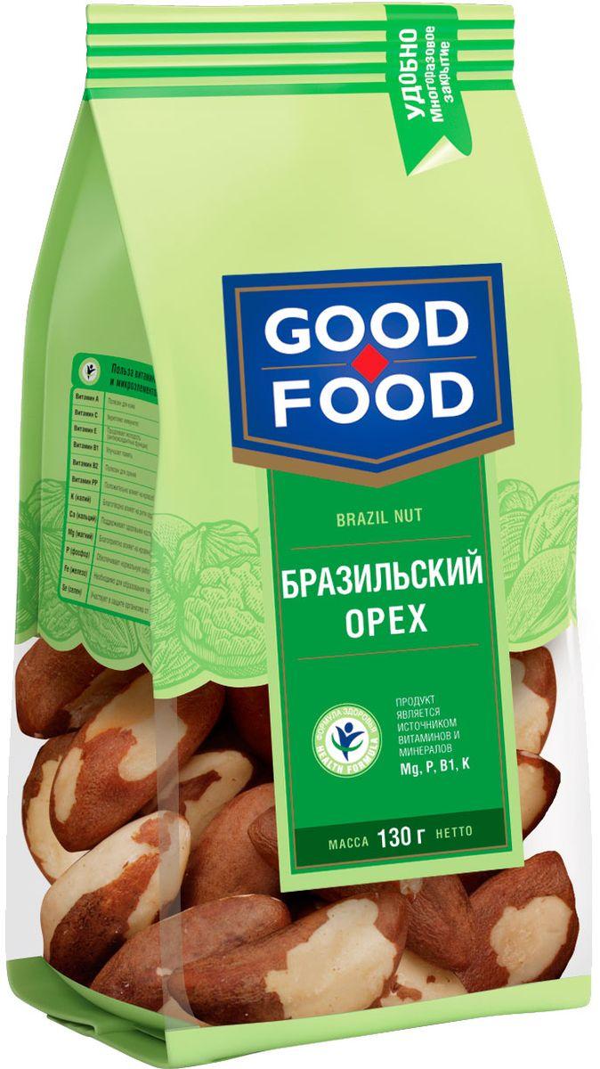 Good Food бразильскийорех,130г0120710Бразильский орех содержит много полезных веществ: фосфаты, калий, кальций, цинк, магний, железо, марганец, селен, медь, омега 3 и 6, фосфор, рибофлавин, флавоноиды, тиамин, ниацин, холин, бетаин, аминокислоты и витамины В6, С, Д, Е. Содержание насыщенных жиров в бразильских орехах одно из самых высоких из всех орехов. Бразильский орех считают очень редким и ценным. Польза бразильского ореха разнообразна: он поддерживает тонус сердечной мышцы, обеспечивает эластичность стенок сосудов, укрепляет иммунитет и даже помогает похудеть.