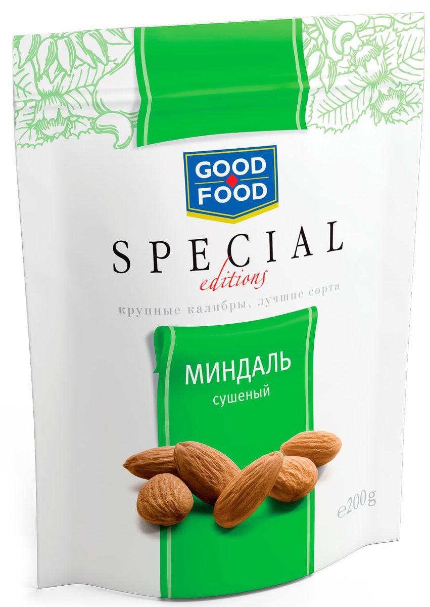 Good Food Special миндаль сушеный, 200 г4620000671923Миндаль - это бесценный источник белка и заряд энергии для активной умственной работы. Орехи серии Good Food Special - это не просто полезный продукт, это орехи самых крупных калибров премиального качества из лучшего сырья. Вы можете быть уверены в крупном размере каждого орешка, а также его непревзойденной чистоте и отменном вкусе.