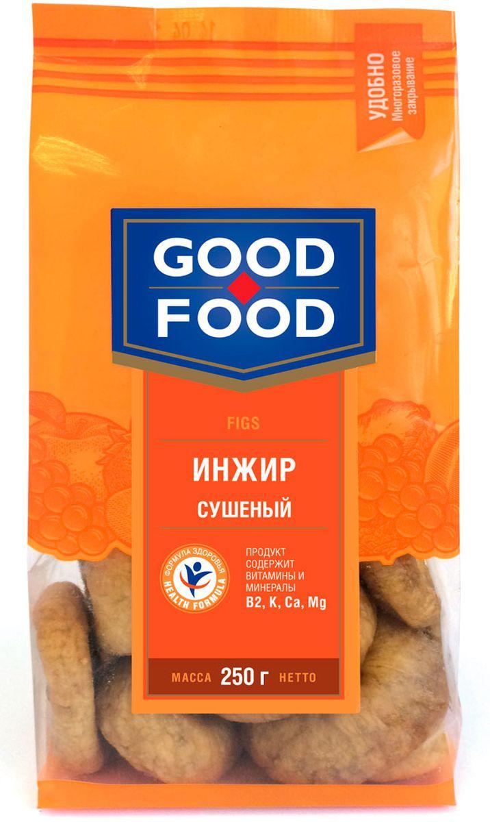 Good Food инжирсушеный,250г0120710Сушеный инжир является рекордсменом среди других сухофруктов по содержанию клетчатки, в связи с этим его употребление гарантирует ощущение сытости и улучшает работу желудочно-кишечного тракта. Польза сушеного инжира заключаются в изобилии в нем микроэлементов и витаминов, необходимых для нашего организма. Сушеный инжир способен приумножить вырабатываемую нашим организмом энергию, улучшить настроение, работоспособность и умственную деятельность. Ежедневное употребление инжира может снизить риск возникновения сердечно-сосудистых заболеваний.