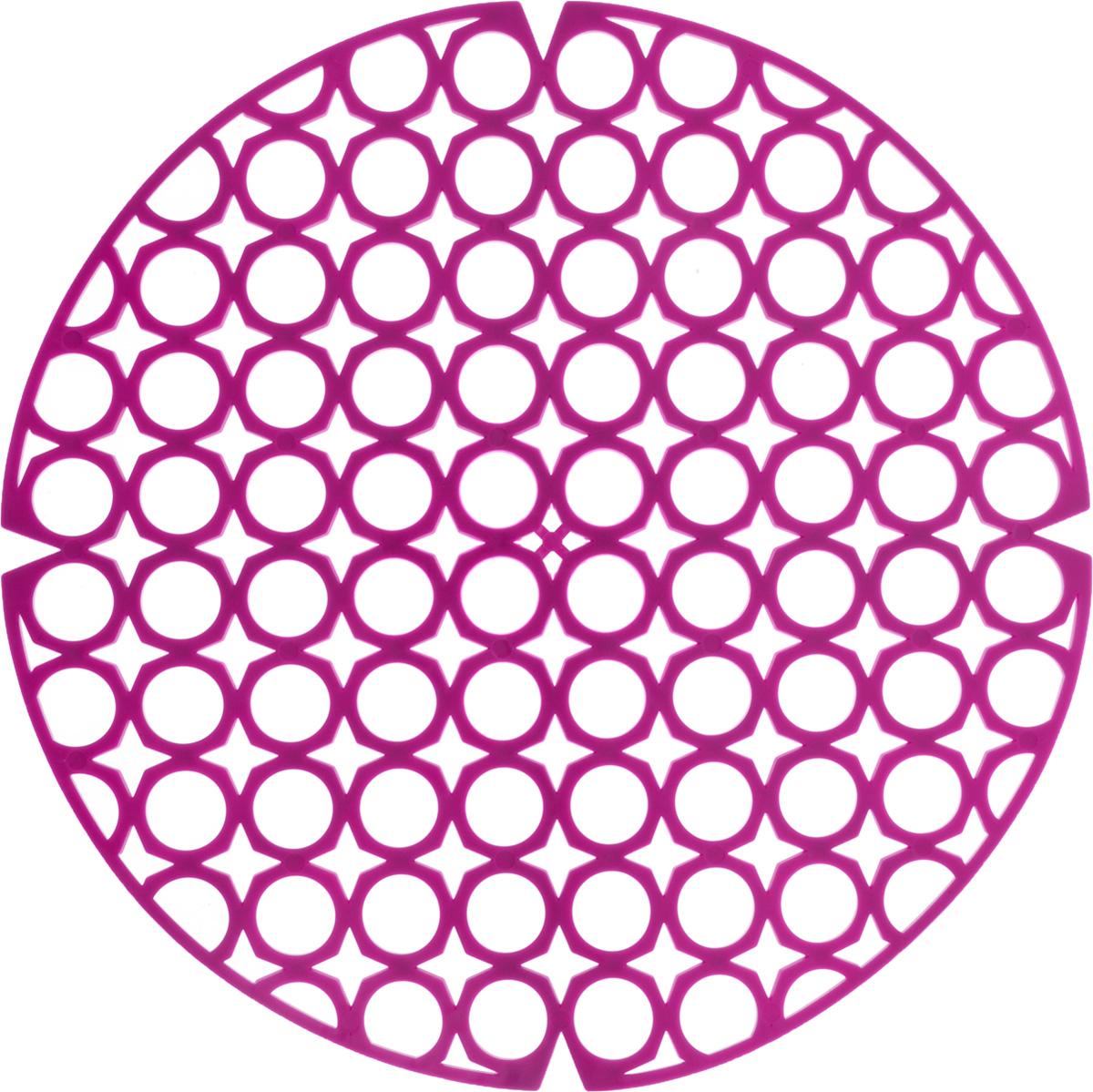 Коврик для раковины York, цвет: фиолетовый, диаметр 27,5 см9560/095600_фиолетовыйСтильный и удобный коврик для раковины York изготовлен из сложных полимеров. Он одновременно выполняет несколько функций: украшает, защищает мойку от царапин и сколов, смягчает удары при падении посуды в мойку. Коврик также можно использовать для сушки посуды, фруктов и овощей. Он легко очищается от грязи и жира. Диаметр: 27,5 см.