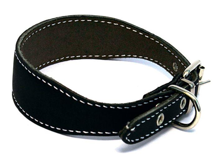 Ошейник для собак Каскад, с синтепоном, для левретки/таксы, диаметр 25-32 см, цвет: черный00000034чОшейник кожаный черный для левретки таксы с синтепоном обхват