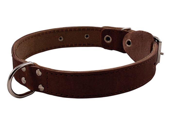 Ошейник для собак Каскад, двойной, с кольцом посередине, ширина 1,2 см, диаметр 20-24 см, цвет: черный0120710Ошейник кожаный черный с кольцом посередине ширина 12 мм, обхват шеи от 20 до 24 см.