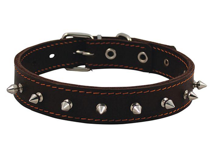 Ошейник для собак Каскад, двойной с шипами, ширина 2,5 см, диаметр 39-46 см, цвет: черный00025110чОшейник с шипами кожаный двойной черный шир 25 мм, обх. шеи 39 - 46