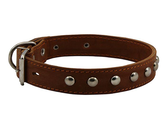 Ошейник для собак Каскад, с украшением и синтепоном, ширина 3,5 см, диаметр 50-59 см, цвет: коричневый0120710Ошейник кожаный черный с украшением с синтепоном ширина 35 мм, обхват шеи от 50 до 59см