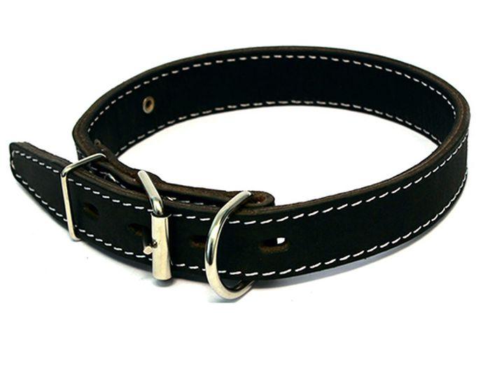 Ошейник для собак Каскад, двойной, с кольцом перед пряжкой, ширина 4,5 см, диаметр 57-66 см, цвет: черный00045051чОшейник кожаный двойной черный с кольцом перед пряжкой ширина 45 мм, обхват шеи от 57 до 66 см.