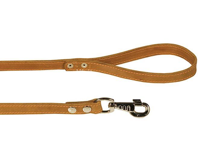 Поводок для собак Каскад двойной, ширина 2 см, длина 120 см, цвет: светло-коричневый0120710Поводок кожаный двойной коричневый ширина 20 мм, длина 1.2 м