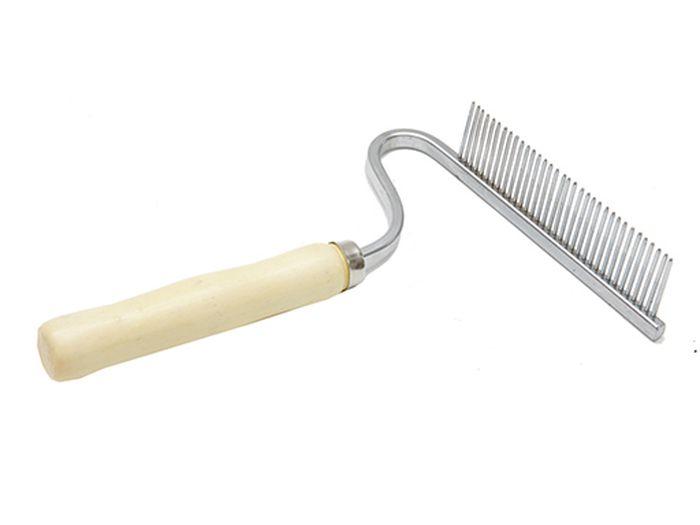 Расческа для животных Каскад, деревянная ручка, грабли, изогнутые0120710Расческа деревянная ручка грабли изогнутые