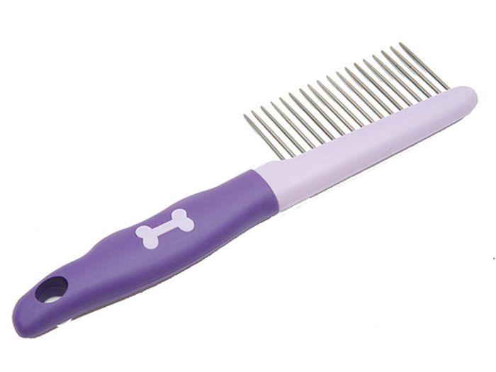Расческа для животных Каскад, с прорезиненной ручкой, средний зуб
