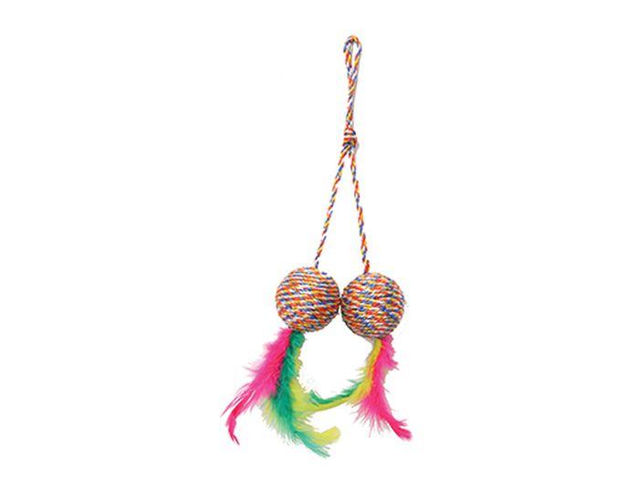 Игрушка для животных Каскад Когтеточка-мяч двойной с перьями, 5 см0120710Когтеточка-мяч двойной с перьями 5см