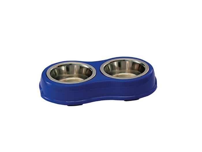Миска для животных Каскад, двойная, на подставке, цвет: синий, стальной, 750 мл0120710Двойная миска Каскад - это функциональный аксессуар для собак, кошек и грызунов. Изделие состоит из двух мисок, выполненных из высококачественной нержавеющей стали. Миски размещены на пластиковой подставке, оснащенной противоскользящими вставками. Яркий дизайн придаст изделию индивидуальность и удовлетворит вкус самых взыскательных зоовладельцев. Объем одной миски: 750 мл. Диаметр одной миски (по верхнему краю): 16 см. Высота одной миски: 6 см. Размер подставки: 39 х 23 х 7 см.