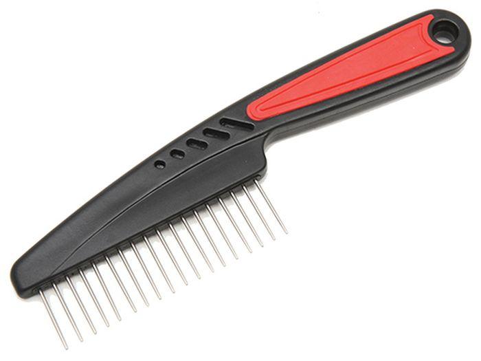 Расческа для животных Каскад, с прорезиненной ручкой, вращающаяся, редкий зуб