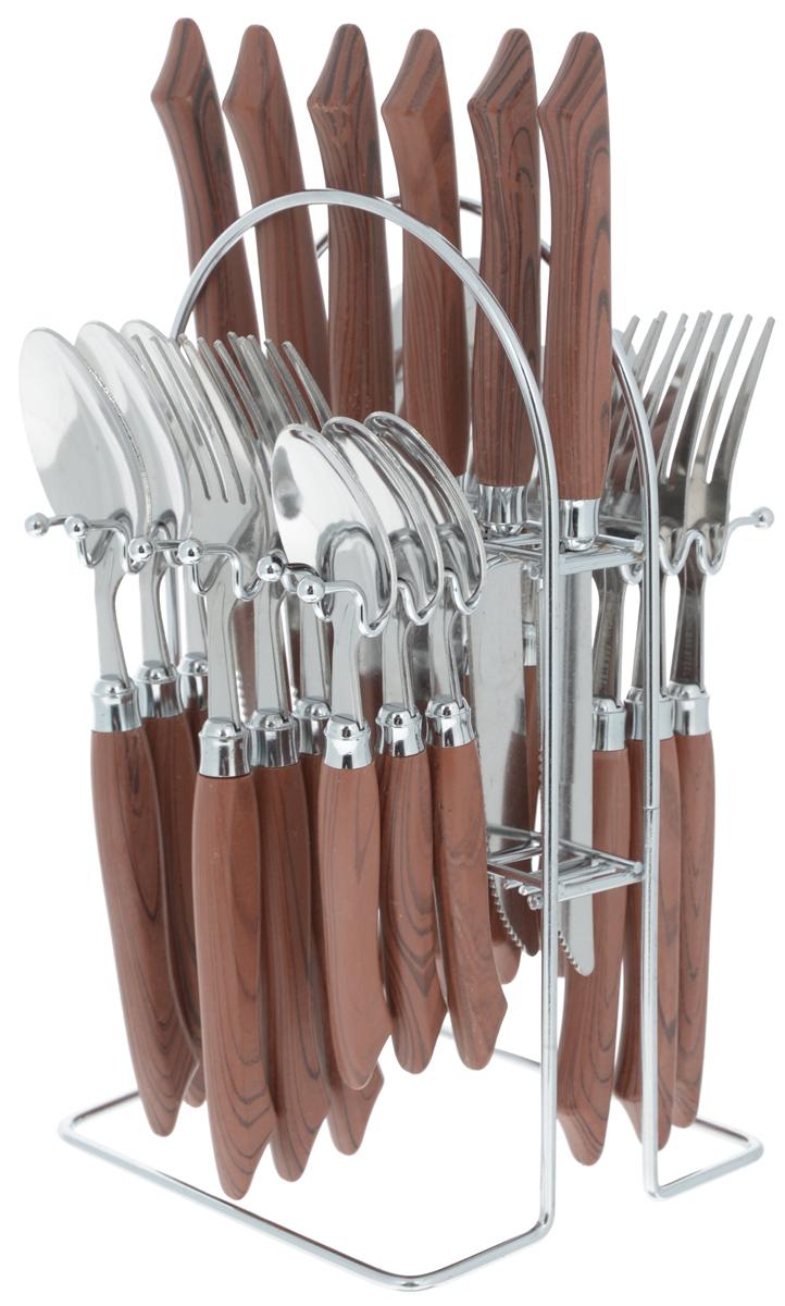 Набор столовых приборов Mayer&Boch, 25 предметов. 49844984/MB-4984Набор столовых приборов Mayer & Boch включает 6 столовых ножей, 6 столовых ложек, 6 столовых вилок, 6 чайных ложек и металлическую подставку. Приборы выполнены из высококачественной нержавеющей стали и снабжены пластиковыми ручками по дерево. Прекрасное сочетание свежего дизайна и удобство использования предметов набора придется по душе каждому. Набор столовых приборов Mayer & Boch подойдет для сервировки стола как дома, так и на даче и всегда будет важной частью трапезы, а также станет замечательным подарком. Длина ножа: 22 см. Длина столовой ложки: 20 см. Длина вилки: 20 см. Длина чайной ложки: 19 см. Размер подставки: 13 х 12,5 х 23,5 см.