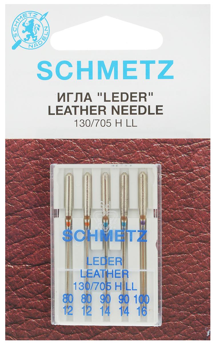 Набор игл для кожи Schmetz Leder, №80, 90, 100, 5 шт22:15.AS2.VISНабор Schmetz Leder состоит из пяти игл с режущим острием для бытовых швейных машин всех марок. Изделия предназначены для кожи, искусственной кожи и похожих материалов. Не рекомендуется применять для текстильных изделий. Комплектация: 5 шт. Размер игл: №80, 90, 100. Система игл: 130/705 H LL.