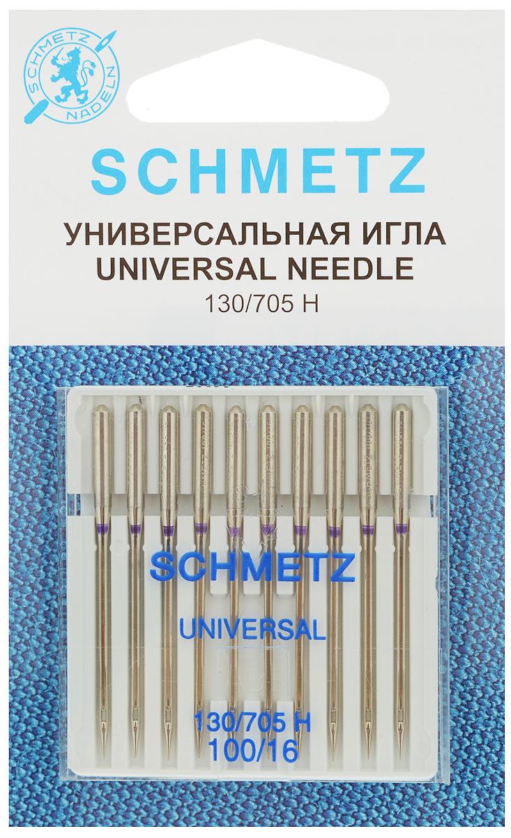 Набор универсальных игл Schmetz, №100, 10 шт22:15.2.XESНабор Schmetz  состоит из десяти игл для бытовых швейных машин. Изделия выполнены из высококачественной стали. Предназначены для большинства видов текстильных материалов, в том числе для джерси, синтетики и других. Комплектация: 10 шт. Размер игл: №100. Система игл: 130/705 H.