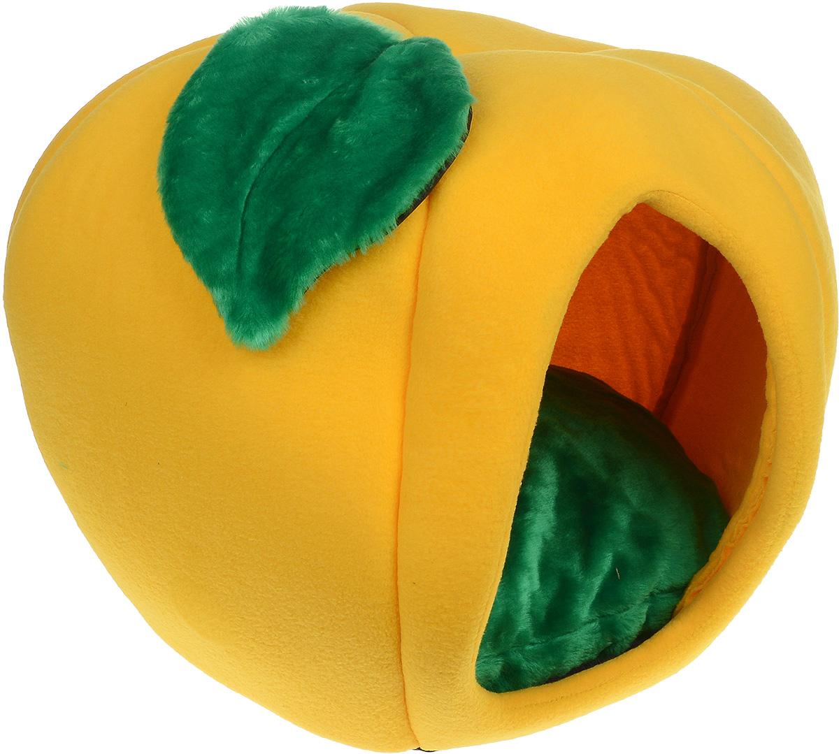 Домик для животных Зооник Тыква, с подушкой, цвет: желтый, зеленый, 50 х 50 х 40 см0120710Домик для животных Зооник Тыква, выполненный из флиса, с непревзойденным дизайном предназначен для кошек и мелких собак. Очень удобен и вместителен. Домик оснащен мягкой подушкой. Изделие гармонично украсит интерьер, подчеркнет вашу индивидуальность и будет радовать вас и вашего питомца.