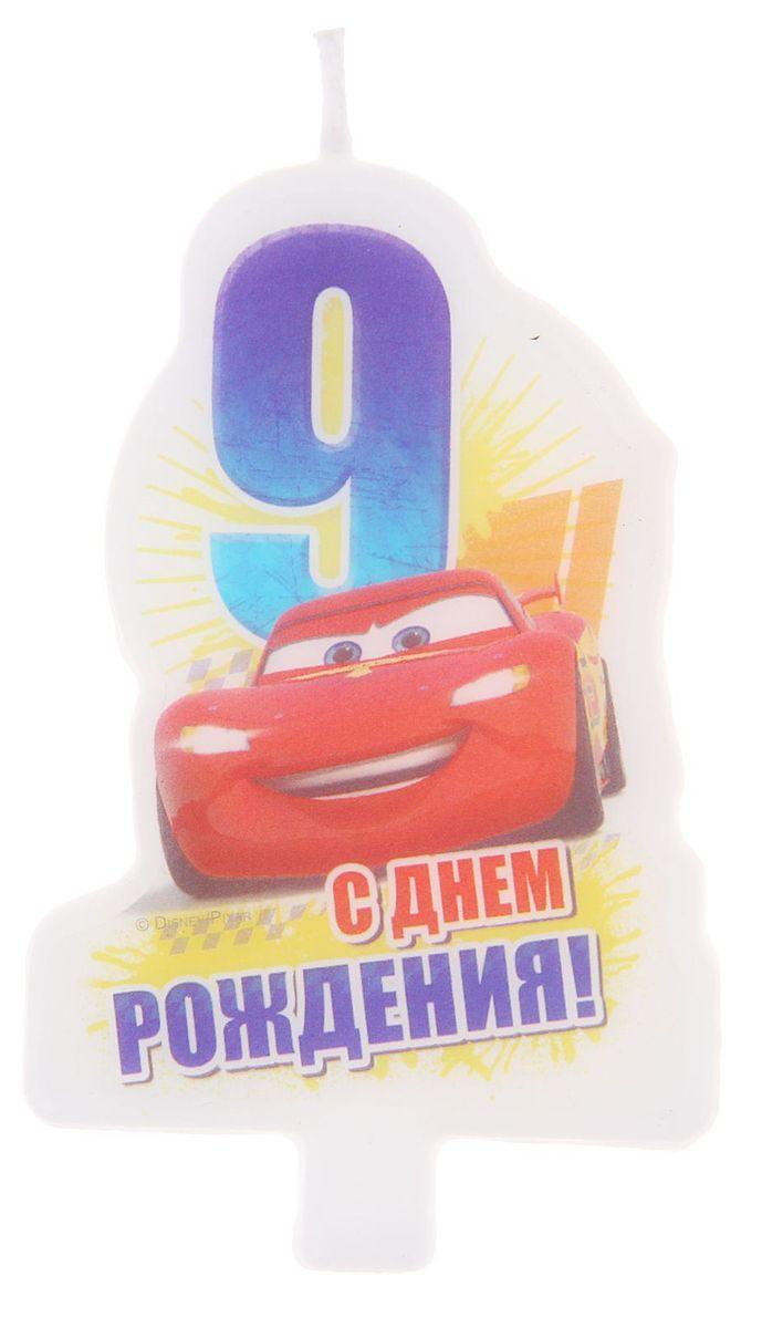Disney Свеча для торта С днем рождения Цифра 9 Тачки