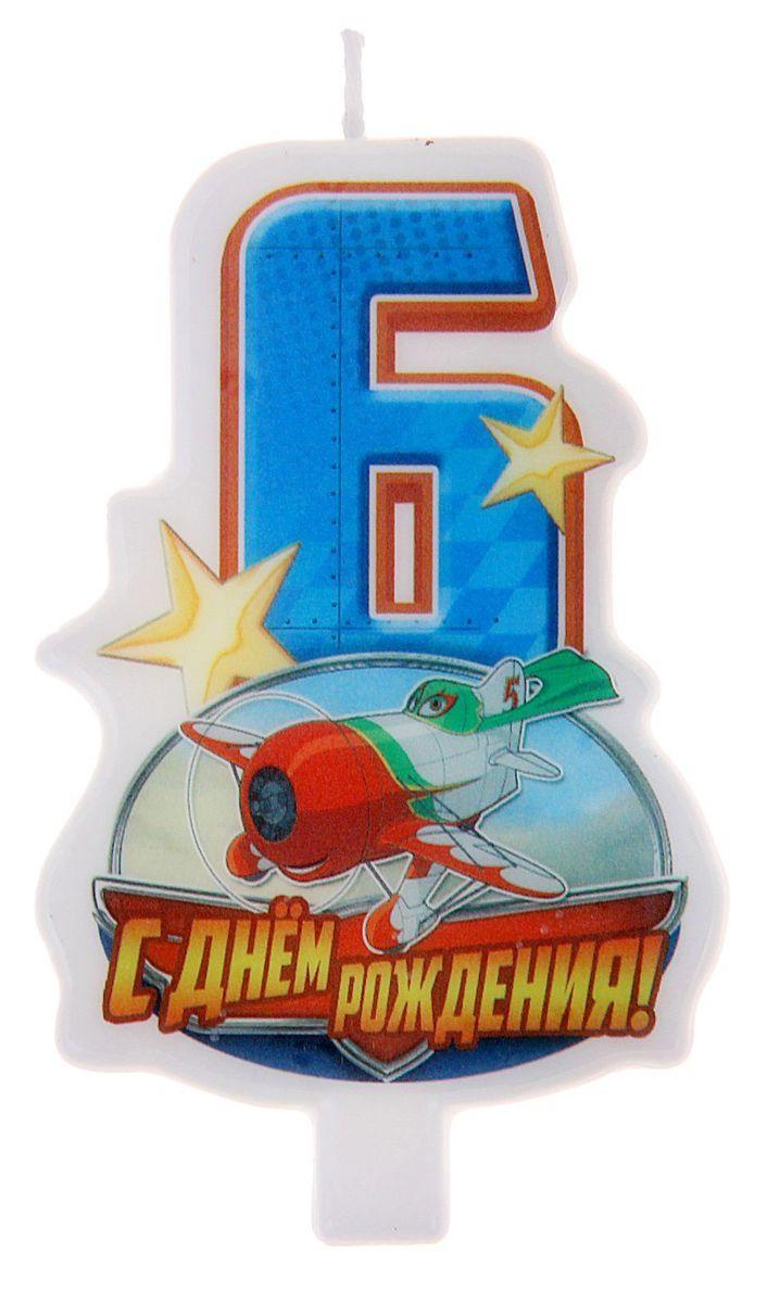 Disney Свеча для торта С днем рождения Цифра 6 Самолеты