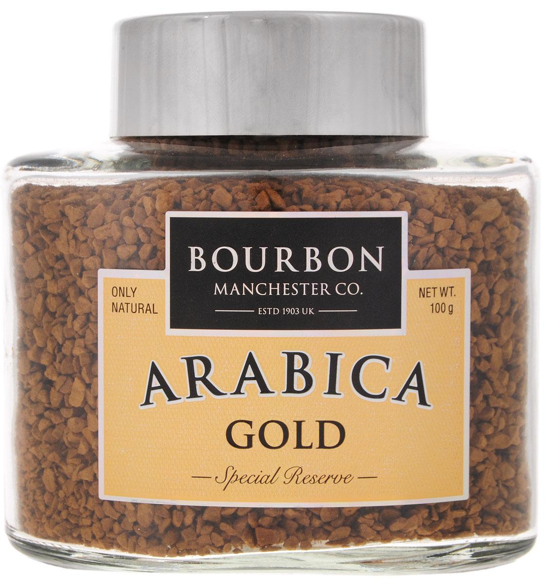 Bourbon Arabica Gold кофе растворимый, 100 г0120710Bourbon Arabica Gold - это купаж отборных сортов арабики, выросшей на высокогорных плантациях. Благодаря кенийской арабике имеет деликатный сливочный вкус, кофейные зерна из Колумбии делают его приятно пряным, а арабика из Бразилии наделяет купаж великолепным ароматом.