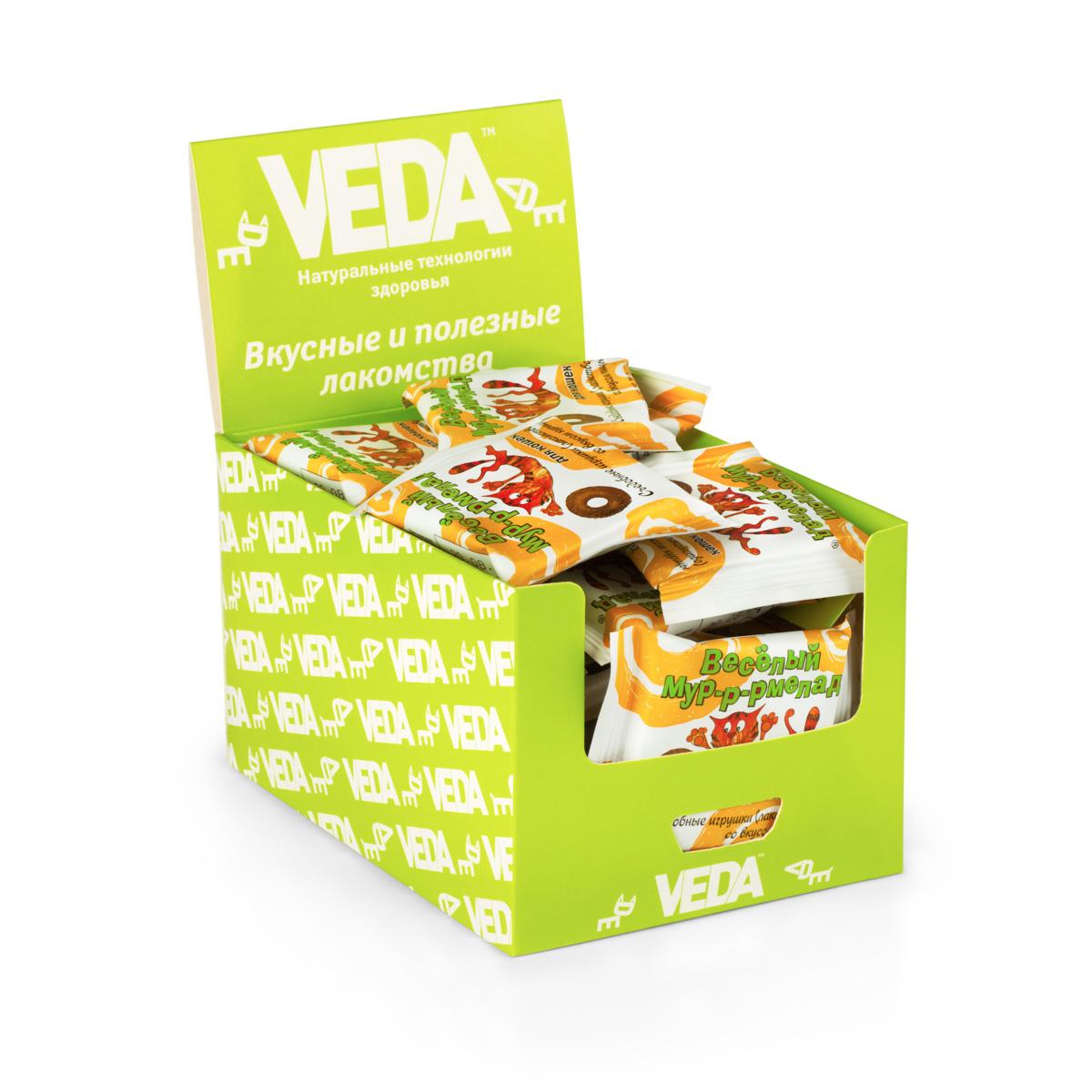 Лакомство VEDA Веселый Мур-Р-Рмелад, для кошек, в шоу-боксе, с курицей, 32 шт0120710Лакомство VEDA Веселый Мур-Р-Рмелад представляет собой съедобную игрушку в виде мягкого колечка. Оно содержит комплекс витаминов группы В (В1, В3, В6), таурин, мумие. Позволяет удовлетворить инстинкт охоты и снять эмоциональное напряжение. Витаминизирует и оздоравливает организм животного. Количество: 32 шт. Вес (1 шт): 6 г. Товар сертифицирован.