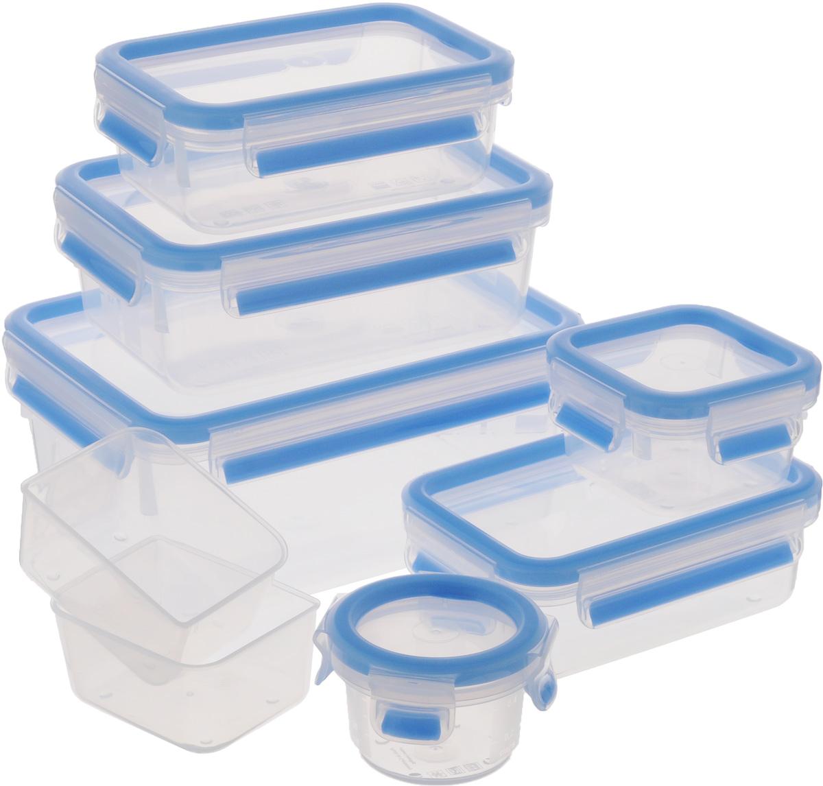 Набор контейнеров Emsa Clip&Close, 7 предметов515562Набор Emsa Clip&Close состоит из 6 контейнеров разного объема и 2 небольших емкостей. Предметы набора изготовлены из высококачественного пищевого пластика, который выдерживает температуру от -40°С до +110°С, не впитывает запахи и не изменяет цвет. Контейнеры снабжены крышками, закрывающимися по бокам на 4 защелки. Герметичность достигается за счет специальных силиконовых уплотнителей, которые позволяют использовать контейнер для хранения не только пищи, но и напитков. В таком контейнере продукты долгое время сохраняют свою свежесть. Прозрачные стенки позволяют просматривать содержимое. Сбоку имеются отметки литража. Изделия подходят для домашнего использования, для пикников, поездок, такие контейнеры удобно брать с собой на работу или учебу. Можно использовать в СВЧ-печах, холодильниках, посудомоечных машинах, морозильных камерах. Объем контейнеров: 2,3 л; 1 л; 0,55 л; 0,55 л; 0,25 л; 0,15 л. Размер контейнеров (без учета...