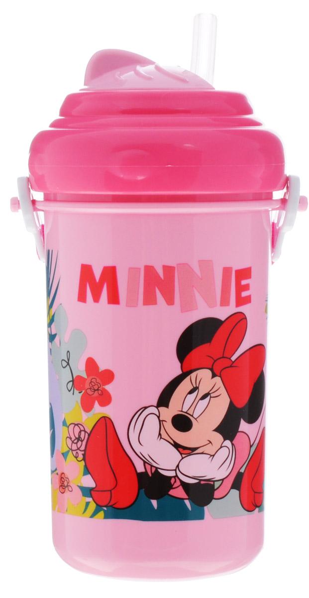 Lubby Поильник-непроливайка Микки и Минни с трубочкой от 6 месяцев цвет розовый 360 мл
