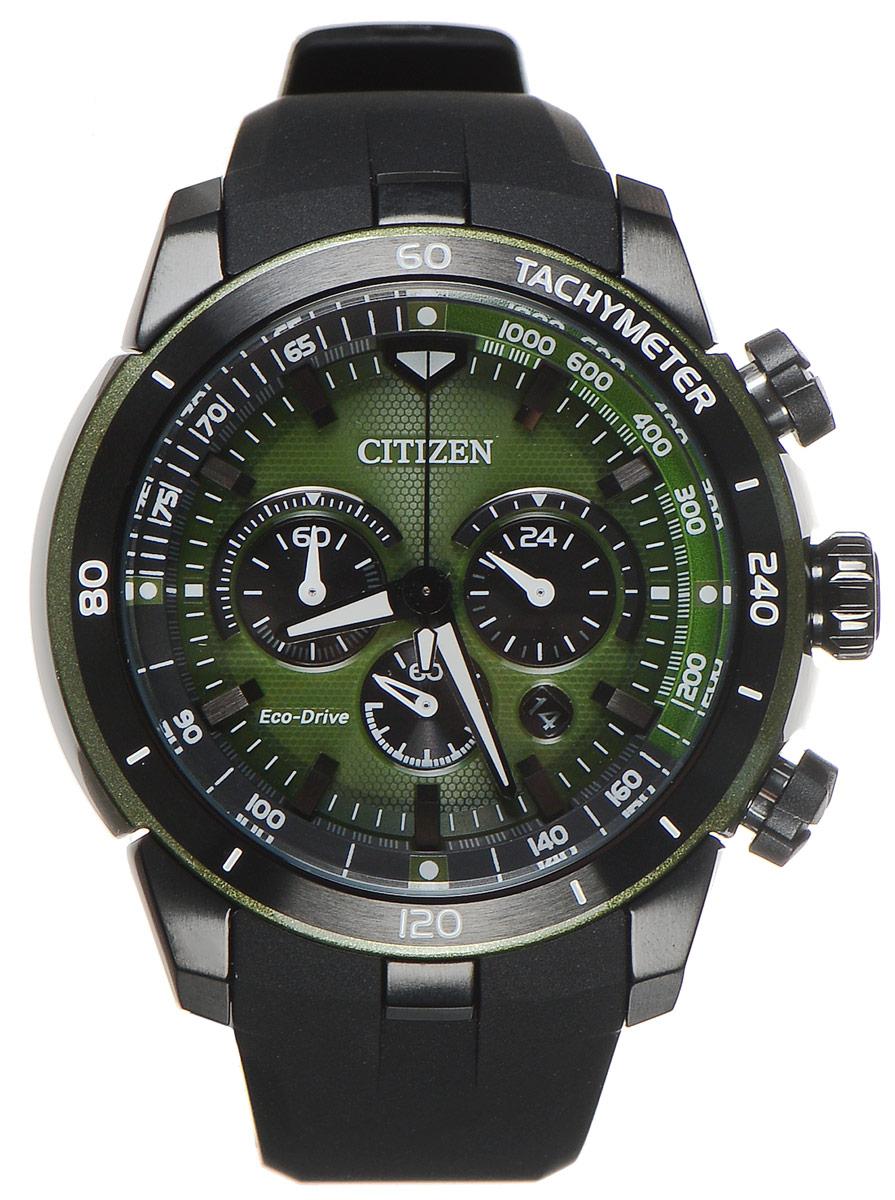 Часы наручные мужские Citizen Eco-Drive, цвет: черный, зеленый. CA4156-01WBM8434-58AEСтильные многофункциональные мужские часы Citizen Eco-Drive выполнены из нержавеющей стали. Циферблат изделия оформлен символикой бренда.Часы оснащены тахиметрической шкалой, функцией хронографа, функцией отображения времени в формате 12/24 и секундомером. Корпус часов обладает степенью влагозащиты 10 bar, а также оснащен устойчивым к царапинам минеральным стеклом. Циферблат дополнен индикатором числа. Элегантный ремешок из полимерного материала, идеально дополняющий корпус изделия, оснащен практичной пряжкой, которая позволит максимально комфортно снимать и надевать часы.Современная технология Eco-Drive позволяет заряжать аккумулятор изделия с помощью любого естественного или искусственного источника света.Часы поставляются в фирменной упаковке.Часы Citizen Eco-Drive подчеркнут мужской характер и отменное чувство стиля у их обладателя.