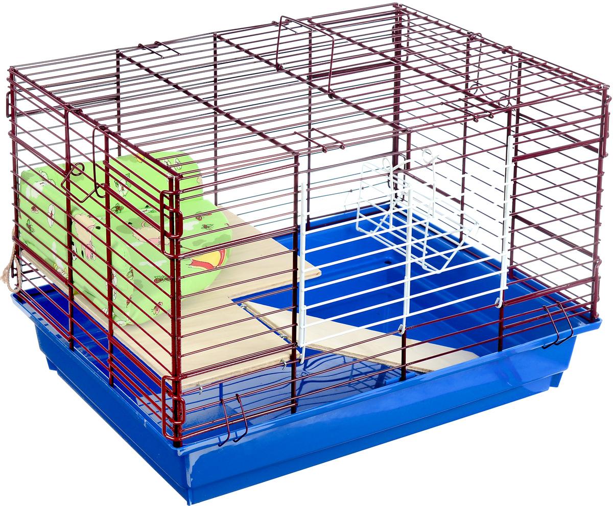 Клетка для кролика ЗооМарк, 2-этажная, цвет: синий поддон, бордовая решетка, 59 х 40 х 41 см650_синяяКлетка ЗооМарк, выполненная из полипропилена и металла, подходит для кроликов. Изделие двухэтажное, оборудовано кормушкой и небольшим угловым диванчиком. Клетка имеет яркий поддон, удобна в использовании и легко чистится. Сверху имеется ручка для переноски. Такая клетка станет уединенным личным пространством и уютным домиком для маленького грызуна.