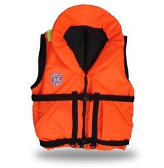 Жилет спасательный Плавсервис Hunter, цвет: оранжевый. Размер 58-64, вес до 120 кг03/1/12Предназначен для людей ведущих активный образ жизни на воде, рыбаков и охотников. Комплектуется свистком и светоотражающими лентами. Есть отдельный карман для хранения паховой стропы, новые, увеличенные в объеме, наружные скошенные карманы на липучках. Низ жилета стал более собран для придания ему лучшей формы. В комплект жилета входят регулировочные ремни, светоотражающие полосы, карманы, молния, свисток, паховая стропа, воротник. Это самая бюджетная модель наших размерных жилетов, но функционально Hunter не подведет своего владельца при попадании в воду. В воде, с помощью элементов плавучести, Hunter перевернет владельца в положение лицом вверх и удержит под углом к горизонту так, чтобы обеспечить безопасное положение головы над водой. Размер жилетов указан в названии и зависит от массы тела (например, Хантер 60) и подойдет подросткам и взрослым, вес которых находится в пределах от 60 до 140 кг. Цвет жилета – ярко-оранжевый. 01 Подголовник. Обязательное условие сертифицированного спасательного жилета. Ткань Оxford 230D PU1000, внутри которой находятся несколько многослойных сегментов из вспененного полиэтилена. Высокий подголовник такой конструкции хорошо держит голову владельца на плаву и в тоже время обладает достаточной гибкостью для складывания жилета при транспортировке. 02 Элементы плавучести, состоящие из набора НПЭ пластин толщиной 8мм каждая. Пластины на груди вшиты между основной и подкладочной тканью и обеспечивают на воде стабильное положение на воде владельца лицом вверх. 03 Лямка выполнена из ременной ленты плотностью от 16 г/м2 и является стягивающим элементом. В зависимости от размера спасательного жилета ее длина изменяется. Фиксируется фастексами с достаточным запасом прочности или посредством сдвоенных стальных полуколец.