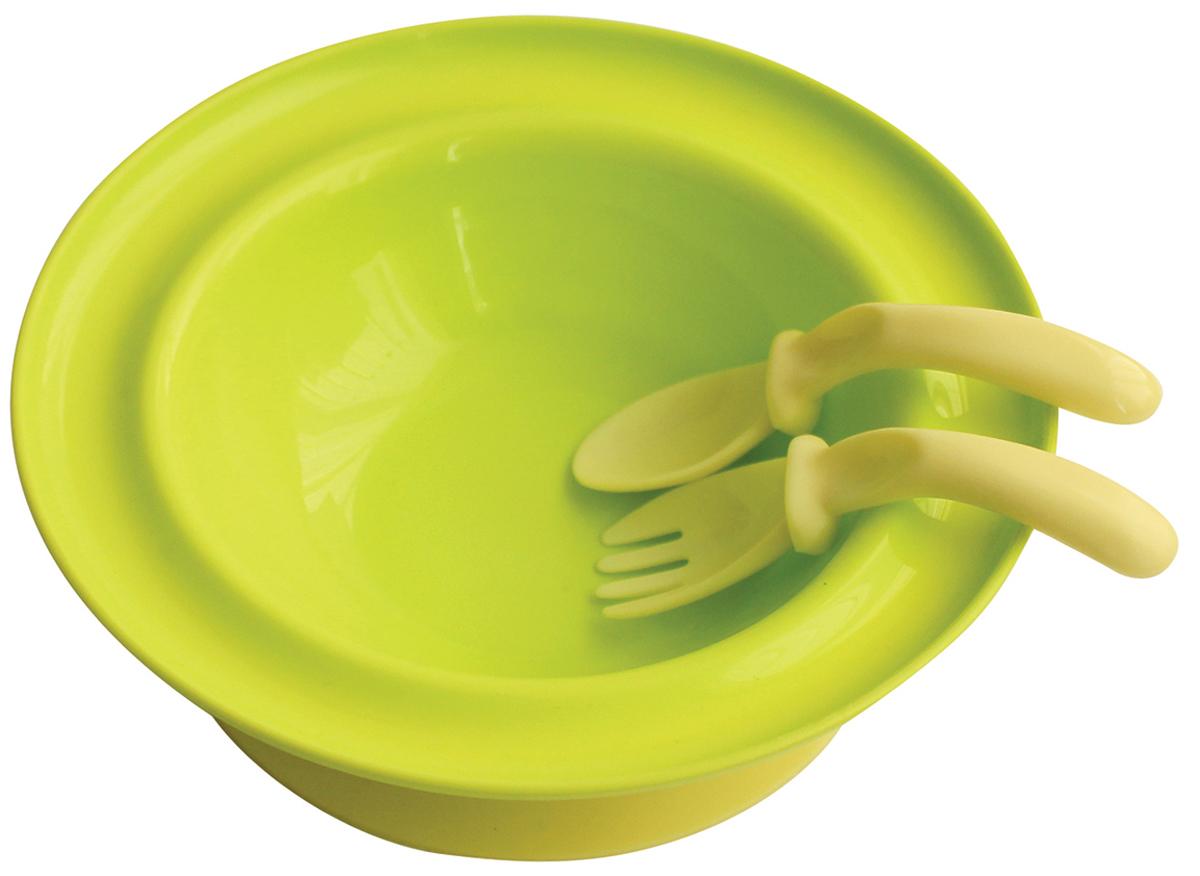 Lubby Набор посуды для кормления 3 предмета цвет салатовый5523_салатовыйНабор для кормления Lubby включает в себя тарелку, вилку и ложку. Тарелка на присоске с приборами незаменима в период, когда ваш малыш учится кушать самостоятельно. Специальная изогнутая форма ложки и вилки комфортно размещается в руке малыша для удобства приема пищи. Присоска позволяет надежно прикрепить тарелку к столу. Для снятия тарелки со стола необходимо потянуть за язычок. Подходит для посудомоечных машин и микроволновых печей.