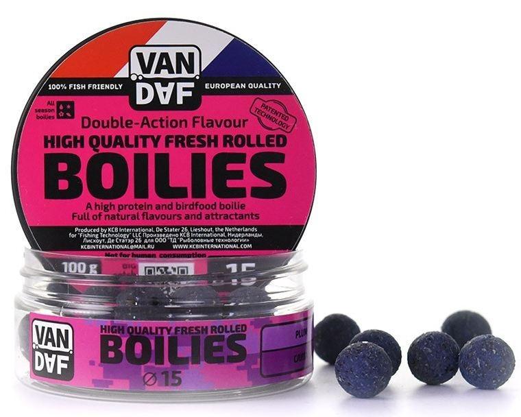 Бойлы VAN DAF Слива, цвет: фиолетовый, диаметр 15 мм, 1 кг57283Бойлы VAN DAF Слива произведены на современном оборудовании по технологии D.A.F. (Double Action Flavour). Этот способ производства на протяжении многих лет подтверждает высочайшее качество продукции и показывает отличные результаты на рыболовных сессиях. В особенности данной технологии заложена концепция дуализма, суть которой - в уникальной сочетаемости вкуса и аромата. Бойлы оказывают двойное воздействие на обонятельно-вкусовые рецепторы каждого карпа. Такие бойлы - это высокопротеиновый продукт, изготовленный из высококачественных ингредиентов с использованием казеината кальция, яичного альбумина, рыбной муки, специй, ореховых и бобовых добавок. Обязательным является применение в рецептах N.H.D.C. подсластителя и масляной кислоты (N-Butyric Acid) - веществ, которые зарекомендовали себя, как наиболее эффективные при ловле карпа. Бойлы показывают высокие результаты на водоемах любого типа и полностью адаптированы к российским условиям. Подходят как для прикармливания,...