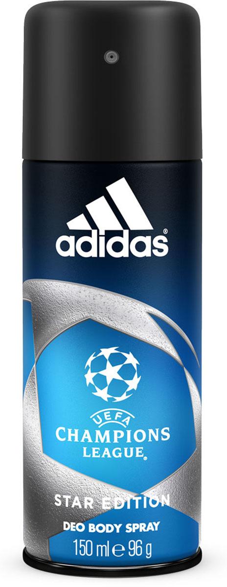 Adidas Дезодорант-спрей UEFA II Champions League Star, мужской, 150 мл340005260080/3614221205044Дезодорант-спрей Adidas UEFA Champions League Star с интенсивным цитрусовым древесным ароматом обеспечивает защиту от запаха пота на 24 часа. Охлаждающий комплекс с ментолом Cool Tech активирует экстраохлаждение каждый раз, когда это необходимо, чем интенсивнее физическая нагрузка, тем интенсивнее работает комплекс.