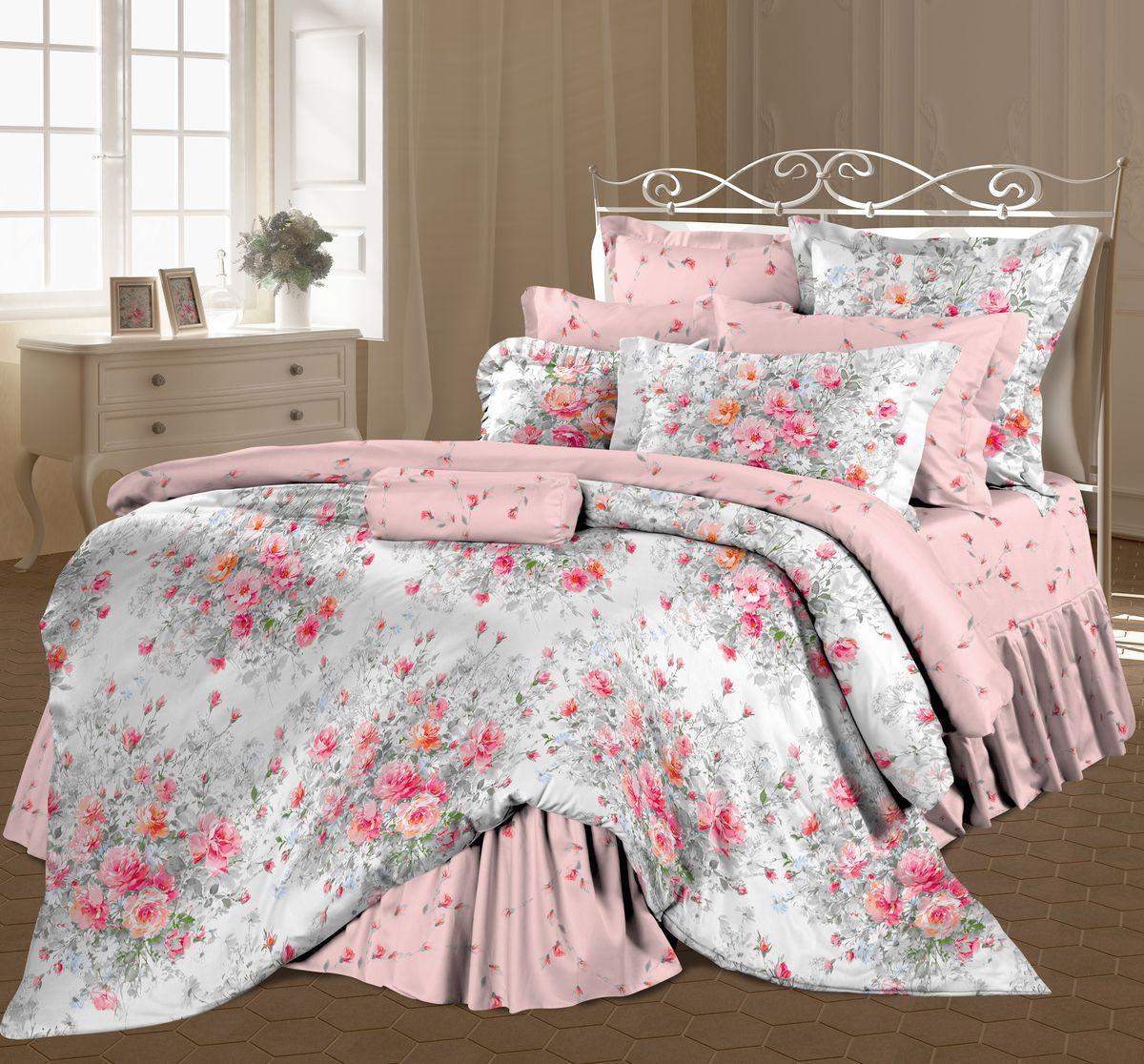 Комплект белья Романтика Французский букет, евро, наволочки 70 x 70, цвет: розовый. 298711298711