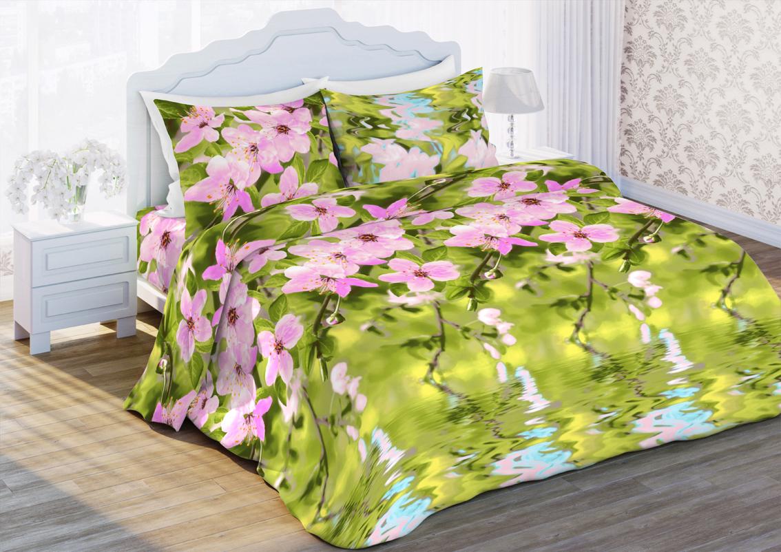 Комплект белья Любимый дом Нега, 2-х спальное, наволочки 70 x 70, цвет: зеленый. 347972347972