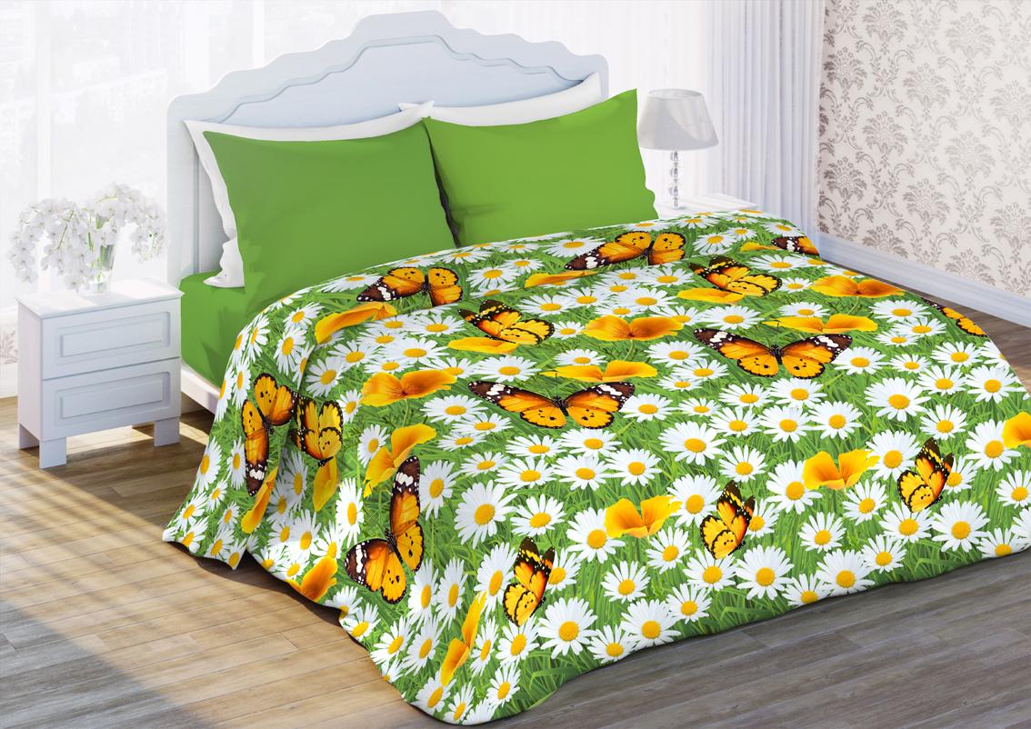 Комплект белья Любимый дом Ромашковая поляна, 1,5 спальное, наволочки 70 x 70, цвет: зеленый. 351185351185