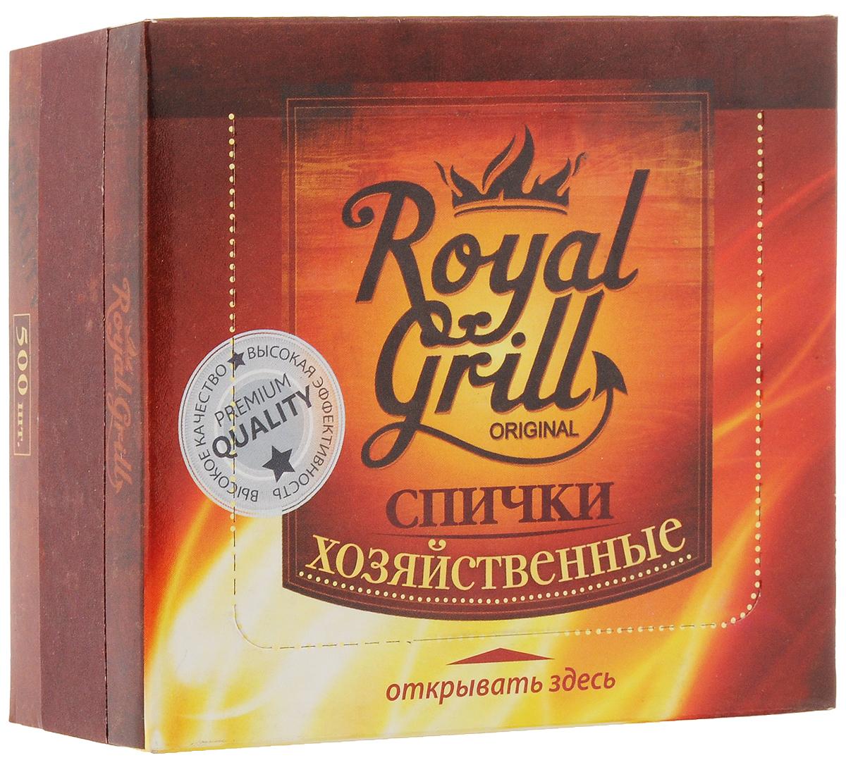 Спички RoyalGrill Хозяйственные, 500 штa026124Спички RoyalGrill Хозяйственные предназначены для разведения огня. Отлично загораются, их удобно держать в руке с минимальным риском ожогов.Состав: древесина, зажигательный состав.