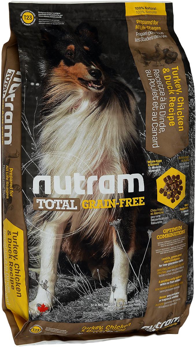 Корм сухой Nutram Total Grain-free T23, для собак, беззерновой, с индейкой, курицей и уткой, 13,6 кг83491Сухой корм Nutram Total Grain-free T23 предназначен для собак всех возрастов. В составе корма: - Нет картофеля; - Углеводы с низким гликемическим индексом (ГИ), полученные из бобовых (турецкий горох и зеленый горошек); - Органические пребиотики (морские водоросли и инулин агавы); - Мощные супер-продукты, такие как лебеда, семена чии, свежие ягоды, гранат и капуста; - Свыше 90% свежих фруктов и овощей канадского производства. Товар сертифицирован.