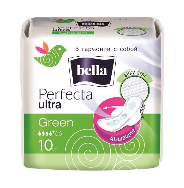 Bella Прокладки супертонкие Perfecta Ultra Green, 10 штBE-013-RW10-193Bella Perfecta Ultra Green Супертонкая прокладка толщиной всего 2мм, абсолютно незаметнa даже под облегающей одеждой. Покрыта супервпитывающей сеточкой Silky Drai, которая моментально пропускает влагу внутрь и удерживает ее, обеспечивая чувство защищенности. Исключительный комфорт обеспечивает использование паропропускающего защитного ламината - кожа дышит! Специальная система SEP надежно защищает от протеканий.