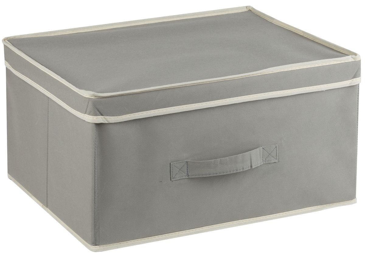 Короб для хранения White Fox Standart, с крышкой, цвет: серый, 43 х 33 х 22 смWHHH10-343Короб White Fox Standart изготовлен из нетканого полотна, наиболее популярного среди товаров для хранения вещей. Для удобства в обращении имеется ручка. Короб имеет складную конструкцию.