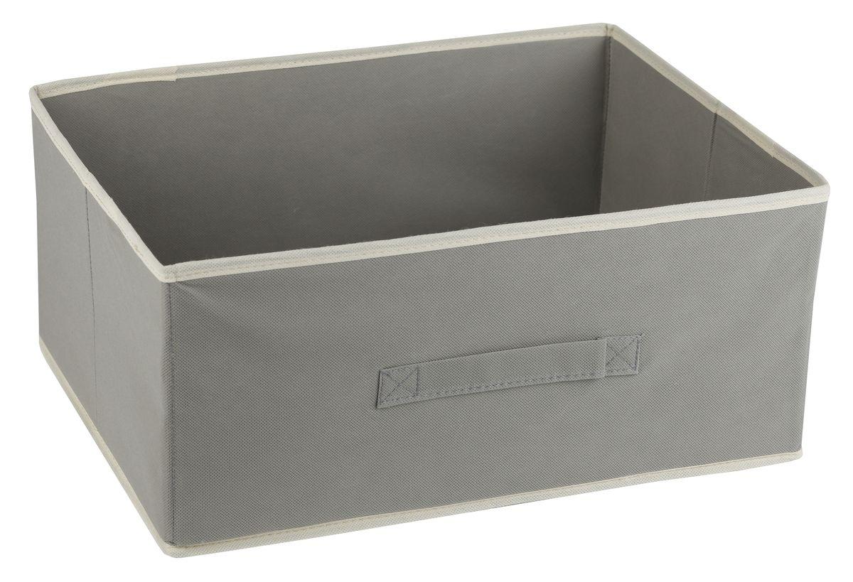 Короб для хранения White Fox Standart, без крышки, цвет: серый, 48 х 36 х 21 смUP210DFКоллекция Standart от White Fox изготовлена из нетканого полотна, наиболее популярного среди товаров для хранения вещей. В коллекции представлены самые популярные вещи: подвесные кофры, короба с крышками и без, мягкие чехлы для вещей, чехлы для костюмов. Все изделия упакованы в компактную упаковку, которая имеет подвес. Короба складываются.