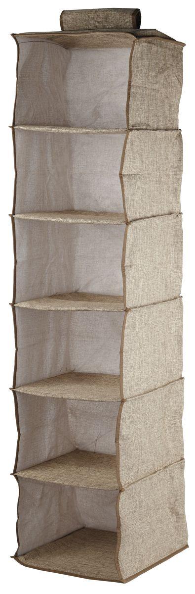 Кофр подвесной White Fox Linen, 6 полок, цвет: бежевый, 30 х 30 х 128 см19201Подвесной кофр White Fox Linen, изготовленный из полиэстера стилизованного под лен, оснащен 6 полками. Он позволяет сохранять естественную вентиляцию и создает дополнительное пространство для хранения головных уборов, белья и мелких вещей. Благодаря удобной конструкции складывается и раскладывается одним движением. Для удобства в обращении имеется ручка. В сложенном виде изделие занимает минимум места, его легко хранить и перевозить. В таком кофре можно хранить всевозможные предметы: вещи, игрушки, рукоделие и многое другое.